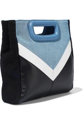 MAJE M color-block denim, leather and suede shoulder bag