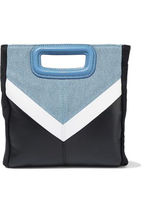 MAJE M color-block denim, leather and suede shoulder bag