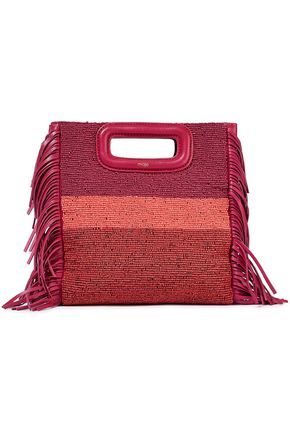 MAJE M fringed leather and beaded canvas shoulder bag