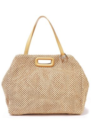 MAJE Leather-trimmed woven raffia tote