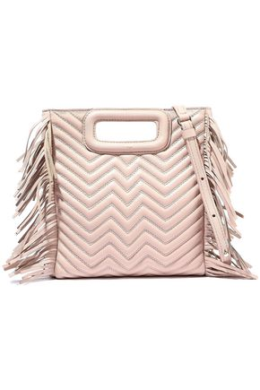 MAJE M fringed quilted leather shoulder bag
