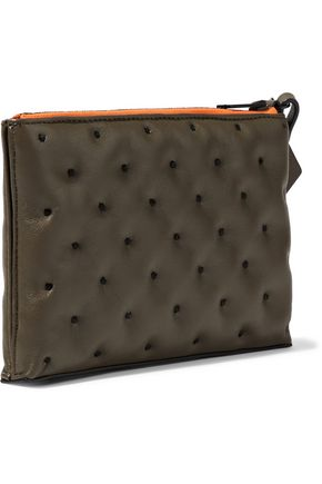 RAG & BONE Dot Dash embroidered textured-leather pouch