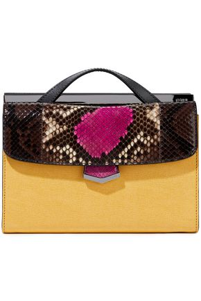 FENDI Demi Jour color-block snake-effect leather and textured-leather shoulder bag