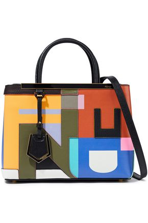 FENDI 2Jours petite appliquéd color-block leather tote