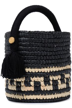 YOSUZI Vane tasseled woven straw bucket bag