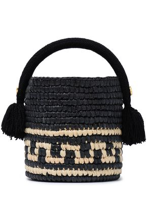 5aff87fe44 YOSUZI Vane tasseled woven straw bucket bag