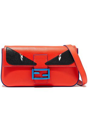 FENDI Baguette appliquéd leather shoulder bag 95e5c69158898