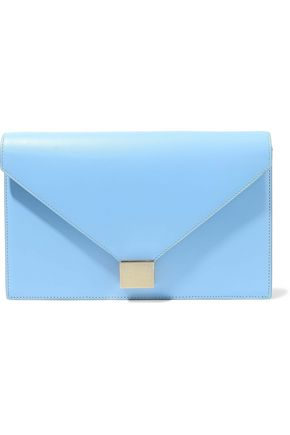 VICTORIA BECKHAM Chain-trimmed leather envelope clutch