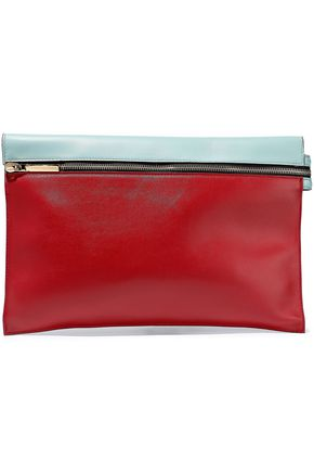 VICTORIA BECKHAM Color-block leather clutch