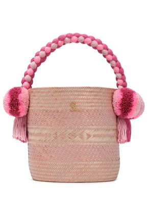 YOSUZI Kesenia embellished woven straw bucket bag