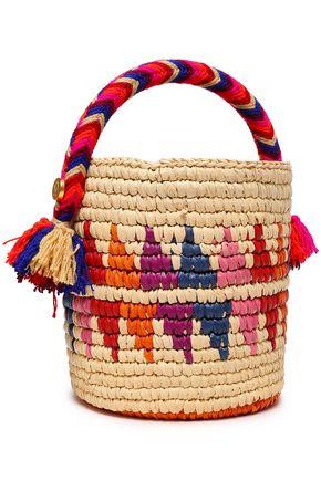 YOSUZI Nini tasseled woven straw bucket bag