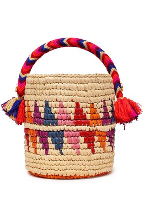 YOSUZI Nini tasseled woven straw bucket bag