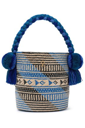 YOSUZI Safira embellished woven straw bucket bag