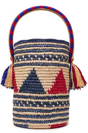YOSUZI Sonora tasseled woven straw bucket bag
