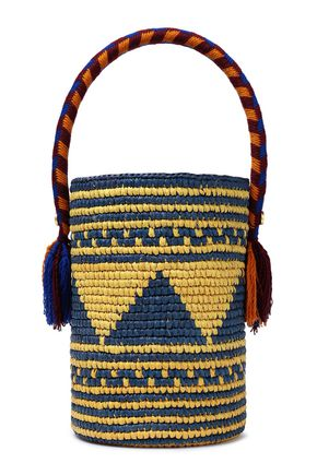 YOSUZI Akua asseled woven straw bucket bag