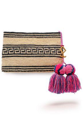 YOSUZI Tasseled straw clutch