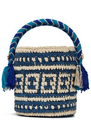 YOSUZI Tara tasseled toquilla straw bucket bag
