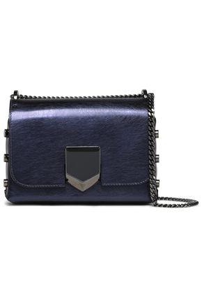 JIMMY CHOO Studded metallic textured-leather shoulder bag