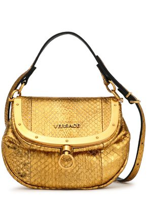 VERSACE Metallic watersnake shoulder bag