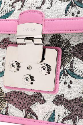 FURLA Leather-trimmed jacquard shoulder bag