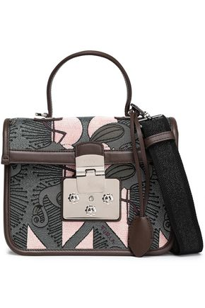 FURLA Leather and velvet-trimmed jacquard shoulder bag