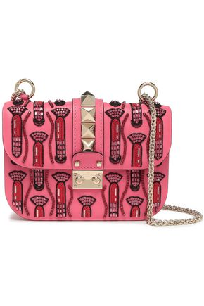 bd169e7dff641 VALENTINO GARAVANI Glam Lock embellished leather shoulder bag