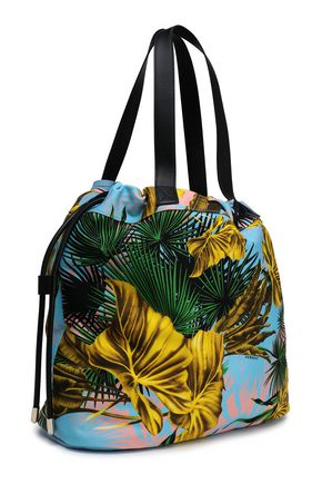VERSACE Printed twill and leather tote