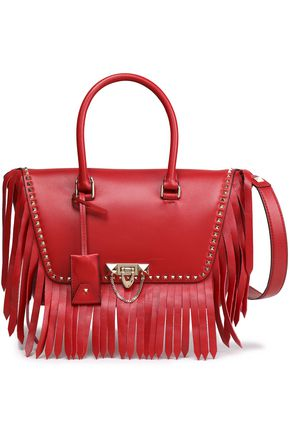 VALENTINO GARAVANI Fringed studded leather tote
