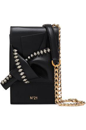 N°21 Crystal-embellished knotted leather shoulder bag