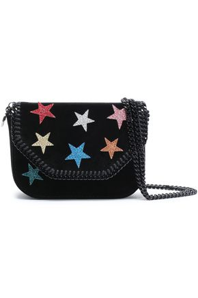 STELLA McCARTNEY Embellished velvet shoulder bag
