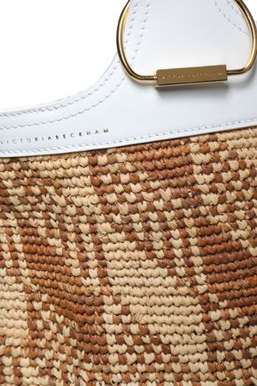VICTORIA BECKHAM Paneled raffia and leather tote