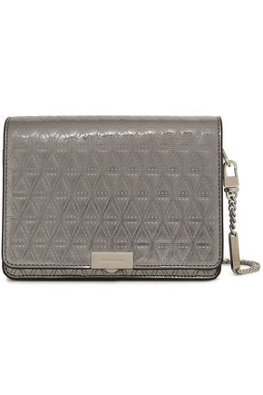 MICHAEL MICHAEL KORS Laser-cut metallic patent-leather shoulder bag