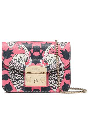 FURLA Printed textured-leather shoulder bag