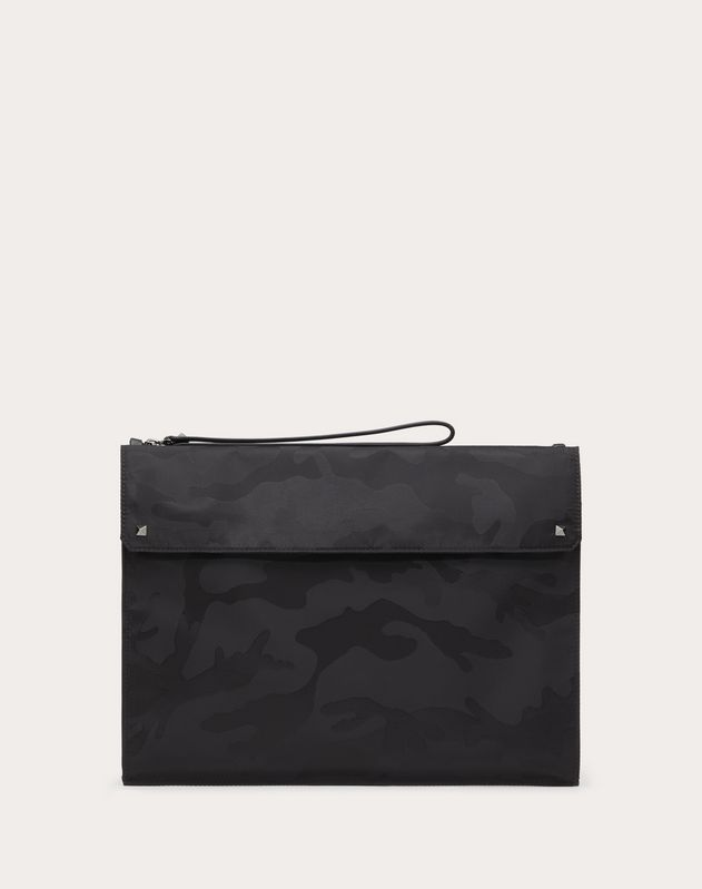 LARGE NYLON CAMOUFLAGE NOIR CLUTCH
