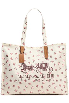 COACH Leather-trimmed printed canvas tote