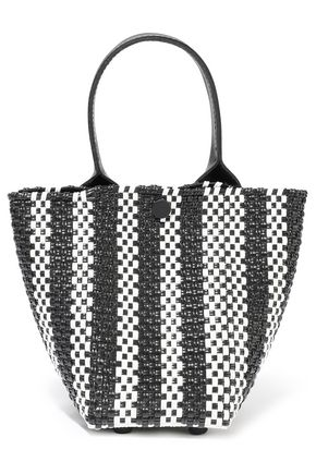 TRUSS Le Mini Sac striped woven raffia-effect tote