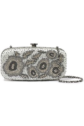 OSCAR DE LA RENTA Goa bead-embellished embroidered satin clutch
