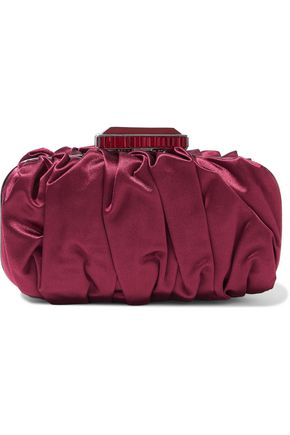 OSCAR DE LA RENTA Goa gathered satin clutch
