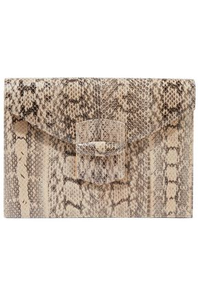 OSCAR DE LA RENTA Grafton snake-effect leather envelope clutch
