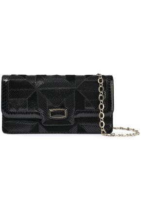 OSCAR DE LA RENTA East West Grafton calf hair and snake-effect leather envelope clutch
