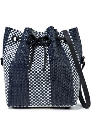 TRUSS Leather-trimmed woven bucket bag