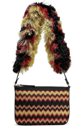 MISSONI Leather-trimmed metallic crochet-knit pouch