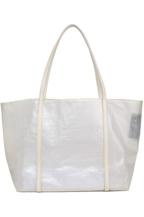 KARA Leather-trimmed coated woven tote