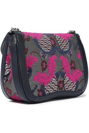 FURLA Leather-trimmed brocade shoulder bag
