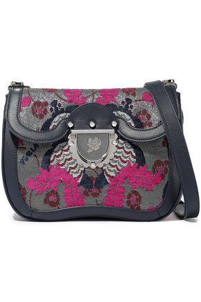 FURLA Ducale leather-trimmed metallic jacquard shoulder bag