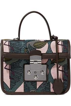 FURLA Leather-trimmed brocade shoulder bag