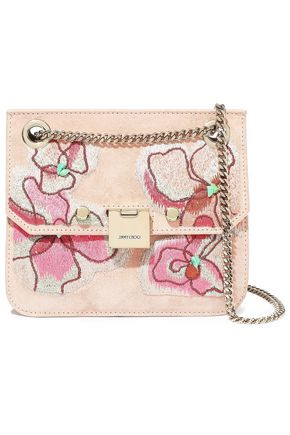 JIMMY CHOO Rebel embellished suede shoulder bag