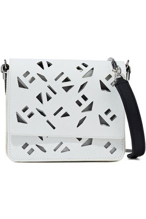 KENZO Laser-cut logo-print leather shoulder bag