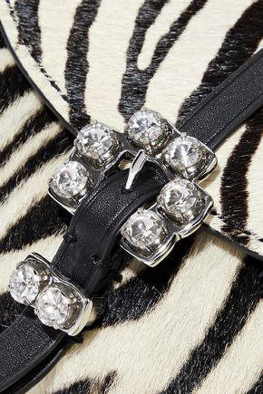 3.1 PHILLIP LIM Hudson crystal-embellished zebra-print calf hair and leather belt bag