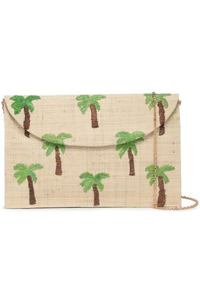 KAYU Embroidered straw clutch
